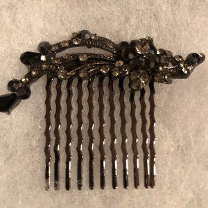 Vintage Black Crystal Hair Comb